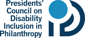 Presidents' Council on Disability Inclusion in Philanthropy logo with bold text right justified and stacked in three lines. A letter mark to the right spans the height of the text. It combines the letter D, with an I and P inside, with a large circle as the dot of the I in the top corner.